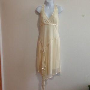 cream white strap neck dress